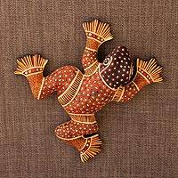 Ceramic wall adornment, 'Batik Frog' - Mexican Ceramic Frog Wall Art