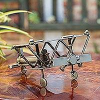 Iron sculpture, 'Rustic Biplane' - Hand Crafted Recycled Metal Rustic Mexico Sculpture