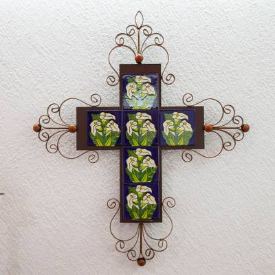 Iron wall candleholder, 'Calla Lily Cross' - Iron wall candleholder