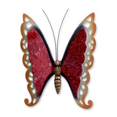 Handmade Iron and Glass Red Butterfly Wall Sculpture from Mexico