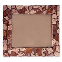 Marble mosaic photo frame, 'Mountain Trail' (8x10) - Marble mosaic photo frame (8x10)