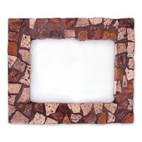 Marble mosaic photo frame, 'Mountain Trail' (5x7) - Marble Mosaic Photo Frame (5x7)
