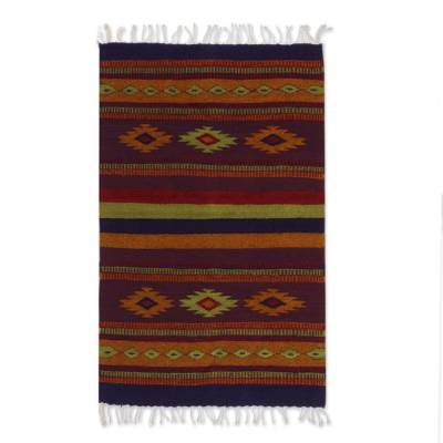 Zapotec wool rug, 'Festival' (2x3.5) - Authentic Handwoven Zapotec Area Rug (2x3.5)