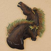 Steel wall art, 'Wild Stallions' - Steel wall art