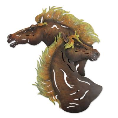 Unique Brown Horses Steel Indoor Outdoor Wall Art from Mexico