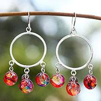 Dichroic art glass earrings, 'Summer Sun' - Collectible Art Glass Beaded Earrings