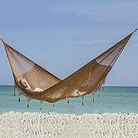 Hammock, 'Copper Filigree' (double) - Solid Rope Double Hammock Made by Artists of the Yucatan