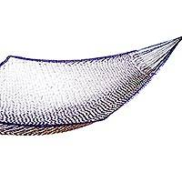 Cotton hammock, 'Ocean Waves' (single) - Artisan Crafted Hammock (Single)