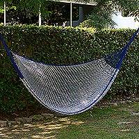 Cotton hammock, 'Ocean Waves' (double) - Handcrafted Cotton Striped Rope Hammock from Mexico (Double)