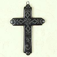 Ceramic cross, 'Four Cardinal Directions' - Handmade Mexican Black Pottery Religious Ceramic Cross