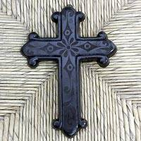 Ceramic cross, 'Faith and Love' - Mexican Religious Ceramic Cross
