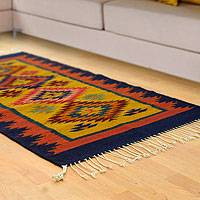 Zapotec wool rug, 'Blue Agave' (2.5x5) - Zapotec wool rug (2.5x5)
