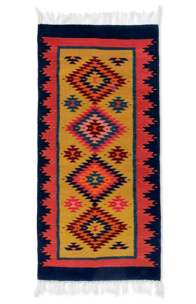 Zapotec Wool Rug 2 5x5 Blue Agave Novica