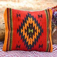 Wool cushion cover, 'Sun of Oaxaca' - Geometric Wool Patterned Red Cushion Cover