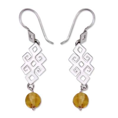 Handmade Sterling Silver and Copal Amber Earrings