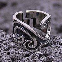 Sterling silver band ring, 'Nahua Meeting' - Handcrafted Taxco Silver Band Ring
