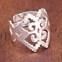 Sterling silver band ring, 'Zapotec Glyph' - Sterling silver band ring