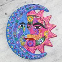 Ceramic wall adornment, 'Nature's Eclipse' - Fair Trade Sun and Moon Ceramic Wall Art