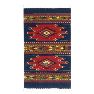 Handmade Mexican Zapotec Wool Area Rug (2x3.5)