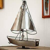 Recycled metal sculpture, 'Rustic Sailboat' - Recycled Metal Sculpture Artisan Crafted Mexican Art