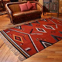 Zapotec wool rug Cruces 6x9 Mexico