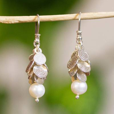 Cultured pearl waterfall earrings, 'Popocateptl Moon' - Sterling Silver and Pearl Waterfall Earrings from Mexico