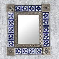 Tin and ceramic wall mirror, 'Mexican Wildflowers' (14 inches) - Hand Crafted Floral Tin Mirror with Talavera Tiles (14 Inch)