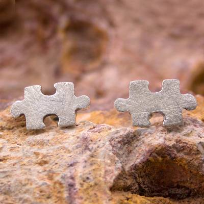 Silver button earrings, 'Puzzle' - Hand Crafted Modern Fine Silver Button Earrings