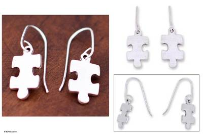Silver dangle earrings, 'Puzzle' - Handcrafted Modern Fine Silver Dangle Earrings
