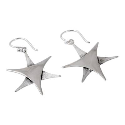 Silver dangle earrings, 'Stars Over Taxco' - Handcrafted Star Fine Silver Dangle Earrings