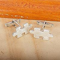 Silver cufflinks, 'Puzzle' - Silver cufflinks