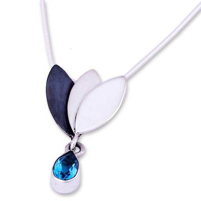 Artisan Crafted Floral Fine Silver Blue Topaz Necklace