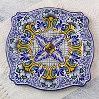 Talavera ceramic serving plate, 'Imperial Blooms' - Talavera ceramic serving plate