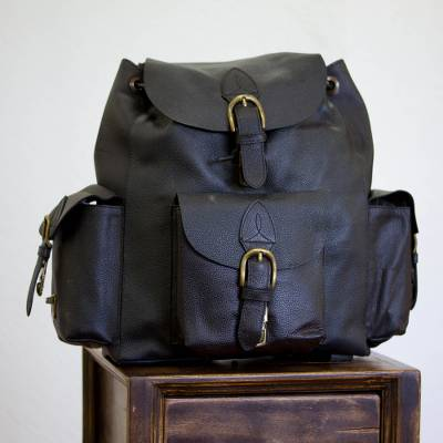 Leather backpack, 'Black Deluxe' - Leather backpack