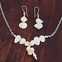 Pearl jewelry set, 'Clouds over Chapala' - Women's Sterling Silver White Pearl jewellery Set