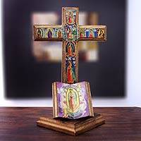 Decoupage sculpture Cross of Guadalupe Mexico