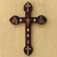 Decoupage wall adornment, 'Cross of Faith and Miracles - Decoupage wall adornment