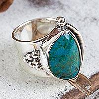 Chrysocolla cocktail ring, 'Taxco Mystique' - Hand Made Taxco Fine Silver Chrysocolla Cocktail Ring