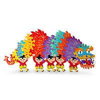 Wood display jigsaw puzzle, 'Chinese Dragon' - Wood Dragon Puzzle Sculpture