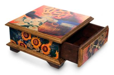 Mexico Floral Wood Decorative Box with Drawer, 'Mexican Flowers'