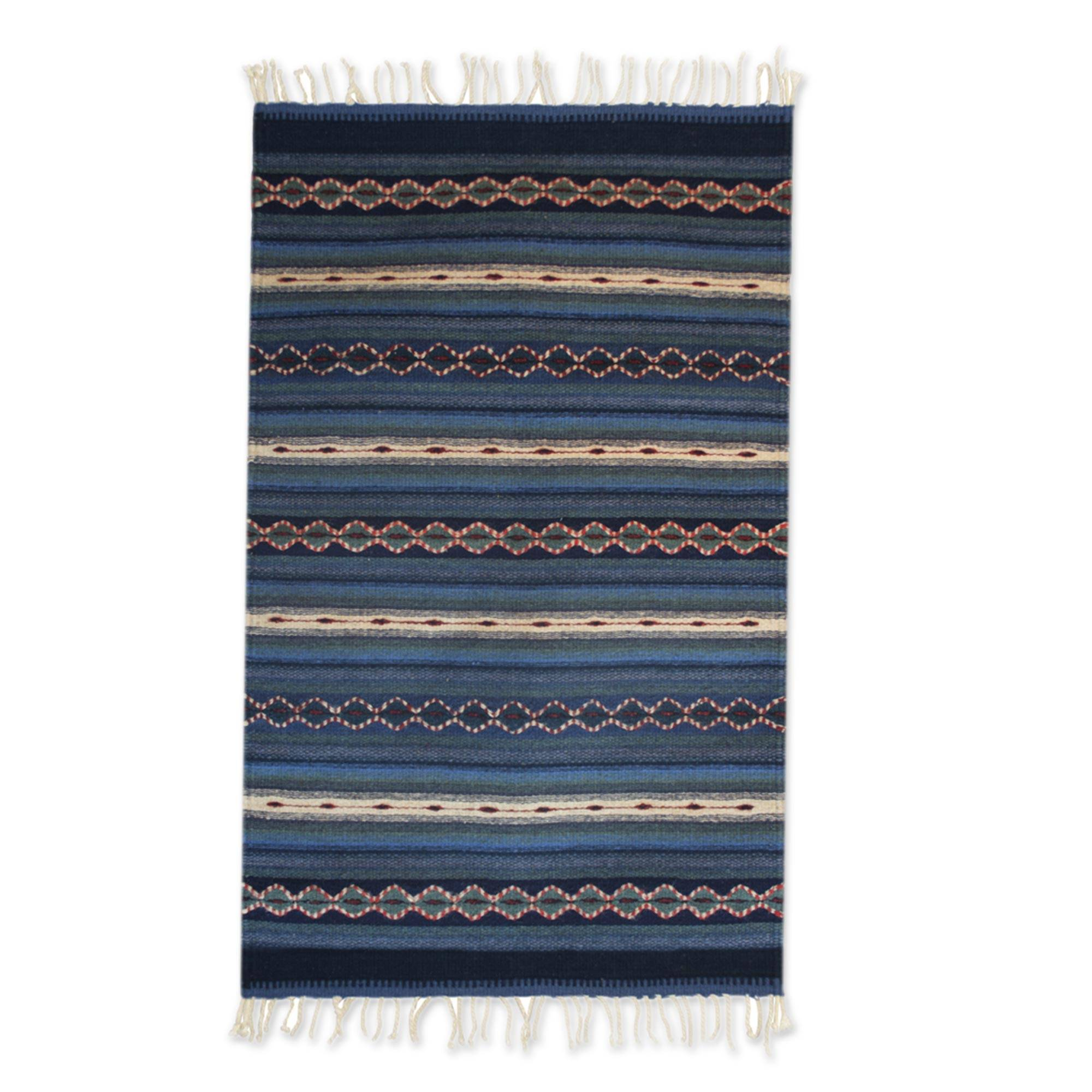 Unicef Market Authentic Zapotec Blue Wool Area Rug 2x3