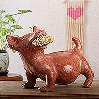 Ceramic figurine, 'Colima Dog with Corn' - Ceramic Dog Sculpture Mexican Archaeology Replica
