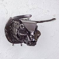 Auto parts key rack, 'Rustic Bull' - Artisan Crafted Steel Coat and Key Holder Wall Sculpture