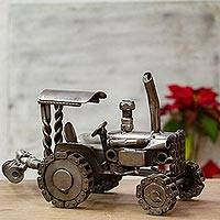 Auto parts sculpture, 'Rustic Farming Tractor' - Unique Mexican Recycled Metal Auto Parts Sculpture