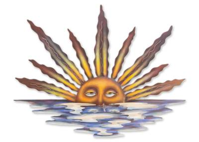 Steel wall art, 'Sunset in Sayulita' - Artisan Crafted Mexican Sun and Moon Steel Wall Art