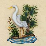 Handcrafted Steel Bird Wall Art, 'Heron in Chapala'