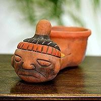Ceramic whistle replica, 'Crying Aztec Child' - Handmade Archaeological Ceramic Whistle Replica