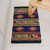 Zapotec wool rug, 'Starfish' (2x3.5) - Unique Geometric Wool Area Rug (2x3.5)