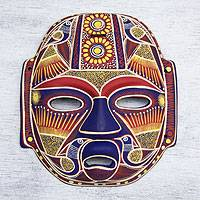 Ceramic mask, 'Golden Olmec Lord' - Collectible Mexican Ceramic Mask with Yellow Birds