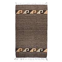 Zapotec wool rug, 'Legacy' (2.5x5) - Unique Zapotec Wool Brown Area Rug (2.5x5)